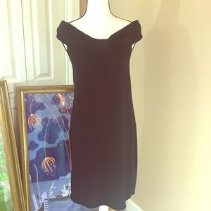 Black bow front dress off shoulder max studio S